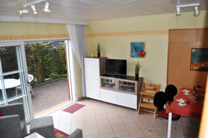 Wohnbereich Terrasse Ferienhaus Cuxhaven Exner
